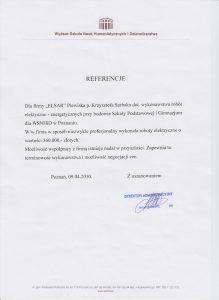 Referencje dla el-sar od WSNHiD w Poznaniu