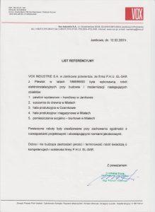 Referencje dla el-sar od Vox industrie S.A